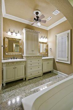 Granite Bathroom - traditional - bathroom - little rock - Celtic Custom Homes Upstairs Bathrooms, Dream Bathrooms, Amazing Bathrooms, Luxurious Bathrooms, White Vanity Bathroom, Bathroom Vanity Cabinets, Master Bathroom, Granite Bathroom, Traditional Bathroom