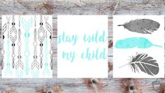 This listing is for a set of high resolution nursery printables. The set includes: hand drawn arrow design in black, grey, and mint green watercolor. three feather pattern in black, grey and min green watercolor. stay wild my child in mint green watercolor. This listing is an INSTANT DOWNLOAD (no physical copies will be shipped). After purchase you will receive 3 PDF files all in an 8x10 portrait size. HOW: 1. Purchase 2. After payment is completed you will receive the download link via…