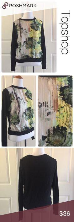Topshop mixed material graphic print sweater sz4 Great condition- no stains or tears. 85 viscose/15 angora. Pair it with your favorite skinny jeans and boots for instant style. Topshop Sweaters Crew & Scoop Necks