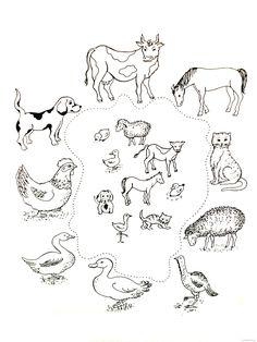 Zvířata a jejich mláďata Farm Activities, Preschool Themes, Preschool Worksheets, Educational Activities, Farm Animal Coloring Pages, Animal Worksheets, Thematic Units, Farm Animals, Kids Learning