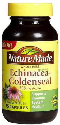 Nature Made Echinacea-Goldenseal 305 mg Caps by Nature Made. $5.20. Echinacea and Goldenseal (Echinacea purpurea and Hydrastis canadensis) have been researched extensively for their specific properties: Echinacea may support immune system health and Goldenseal for its continuing reputation as an herbal supplement for use during the winter season. Europeans and American Indians have long used Echinacea-Goldenseal to strengthen and enhance their overall health. Ech...