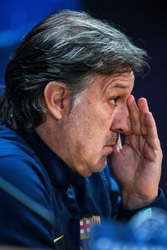 Head coach Gerardo 'Tata' Martino of FC Barcelona faces the media during a press conference ahead of the UEFA Champions League Group H match between FC Barcelona and Celtic FC on December 10, 2013 in Barcelona, Catalonia.