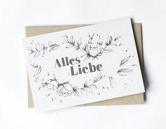 Glückwunschkarten - Geburtstagskarte - Alles Liebe - ein Designerstück von lumilarie bei DaWanda