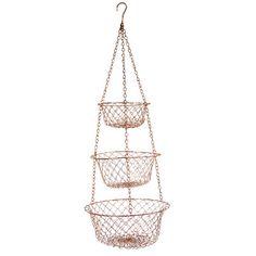 Fox Run Craftsmen Copper Hanging Fruit Basket or Fruit Bowl 3 Piece Set & Reviews   Wayfair
