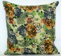 """Designer Cushion Cover Kantha Stitch White Square Pillow Case 16"""" x 16""""   eBay"""