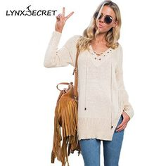 Women's Tassel Lacing sexy V-neck autumn winter long sweaters Knitted cardigan female warm Pull Cashmere