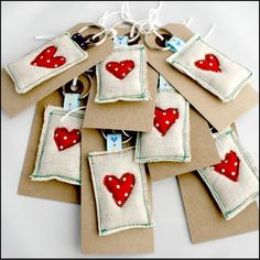 Rustic Linen Heart Keyring - Shabby Chic x 1 £2.20