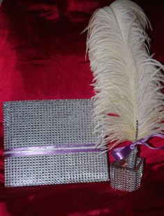 Bling Bling Wedding Anniversary Party Guest by CjaysWeddingDesign, $24.99 (replace the white feather with black)