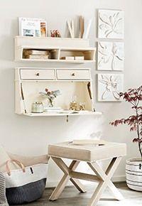 Grande Bouquet Plaque | Ballard Designs Wall Mounted Desk, Wall Desk, Small Furniture, Custom Furniture, Corner Media Cabinet, Buffalo Check Curtains, Woven Chair, Stylish Office, Ticking Stripe
