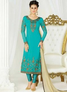 Sky Blue Embroidery Work Georgette Chiffon Designer Fancy Churidar Suit http://www.angelnx.com/Salwar-Kameez/Churidar-Suits