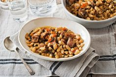 Pork & beans with garlic & greens