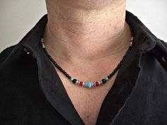 Black Onyx Howlite Turquoise Red Coral Silver by JaspersDream, $30.95