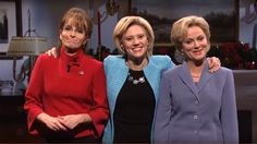 "Live from New York, it's Sarah Palin and two Hillary Clintons! ""Saturday Night Live"" ended 2015 with Tina Fey and Amy Poehler co-hosting and Bruce Springsteen as the musical guest. Amy Poehler Snl, Snl Cast Members, Kate Mckinnon, Sarah Palin, Kevin Spacey, Tina Fey, Belly Laughs, Saturday Night Live, Humor"