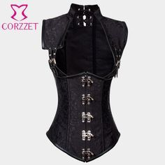 edb19c3156 Black Brocade Collared Top Sexy Cupless Waist Trainer Vest Corset Gothic Waist  Slimming Corsets Steel Boned Steampunk Clothing
