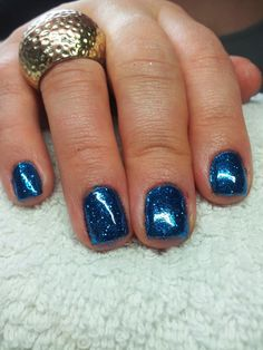 CND Shellac Rockstar Nails - Shellac in Midnight Swim with Winter Blue Glitter from CND special edition Twinkle Collection #WeAreIrresistible