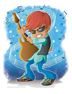 Cool Cartoon of a Guitar Kid as a Rock Star!