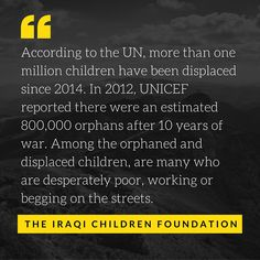 This humanitarian crisis poses a risk to the future of #Iraq. Failure to act leaves these kids susceptible to despair, #poverty, and recruitment by #terrorists, #criminals, and #humantraffickers.