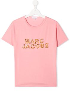 Little Marc Jacobs bead-embellished T-shirt - PINK Little Marc Jacobs, World Of Fashion, Neck T Shirt, Twins, Girl Outfits, Crew Neck, Women Wear, Bead, Short Sleeves