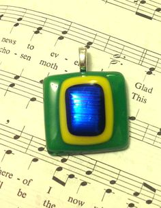 Dichroic Glass Pendant for Necklace  lovely green azul by SheIsHis