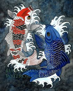 Japanese Embroidery Fish Koi fish Print of a Japanese styled watercolor by Damon Crook x - Watercolor Fish, Watercolor Paintings, Best Canvas, Canvas Art, Framed Canvas, Canvas Size, Japanese Koi, Japanese Style, Japanese Fabric