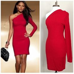 VS MODA International Red One Shoulder Dress M Like New Condition! Long sleeve, knee length. Italian Wool Blend. Smoke-free/Pet-free Victoria's Secret Dresses Midi