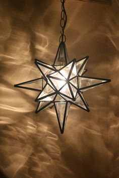 """Moravian 14.5"""" clear WATER glass star lamp / light with canopy, chain, wiring"""