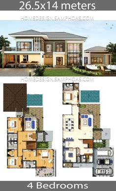 House plans idea with 4 bedrooms - Home Ideas - Dream house - Home Design House Plans Mansion, Porch House Plans, House Layout Plans, Craftsman House Plans, Bedroom House Plans, Country House Plans, House Layouts, Modern House Floor Plans, Simple House Plans