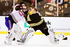 Tim Thomas of the Boston Bruins and Carey Price of the Montreal Canadiens fight in the second period on February 2011 at the TD Garden in Boston, Massachusetts. Get premium, high resolution news photos at Getty Images Hockey Memes, Hockey Goalie, Ice Hockey, Funny Hockey, Hockey Players, Goalie Gear, Kings Hockey, Hockey Quotes, Hockey Baby