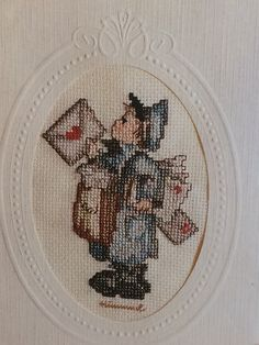 The Postman - Counted Cross Stitch KIT by Hummel -  Sendimentals - Keepsake Cross Stitch Greeting Cards - Kit no 02416 - New and sealed by LousAtelier on Etsy