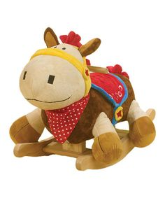 Love this Colt the Pony Rocker by Rockabye  As if a big, cuddly pony pal wasn't enough fun, here's one that's ready to ride. Buttons on the back of Colt's head play four original songs, while hidden rattles and crinkles throughout add extra delight. With so much to explore, this rocker is the perfect all-in-one playmate.   Weight capacity: 80 lbs. Approx. 12'' W x 17'' H x 24'' D Recommended for ages 9 months and up Made in the USA Babies Toddlers Infants nursery