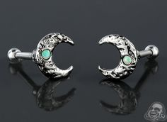 Opal moon tragus or cartilage barbell
