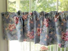 "Curtain Valance, Curtain Blue Floral Border, 59"" by 14 3/4"", Window Topper, Cottage Charm, French Country, by mailordervintage on etsy"