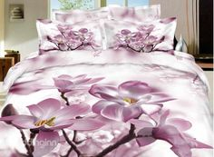 New Arrival High Quality 100% Cotton Pink Blooming Flower 4 Piece Bedding Sets/Duvet Cover Sets
