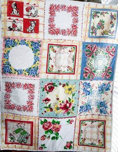 Vintage Hankie Quilt for Baby | FaveQuilts.com I like this idea. I will have to look out for vintage hankies in the op shops.