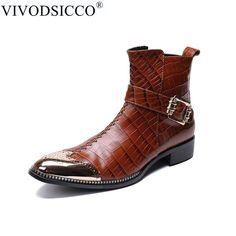 be7604cb08 VIVODSICCO de moda de cuero genuino monje correas hombres tobillo botas  vestido Formal zapatos del dedo