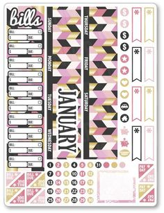 """One 6.5"""" x 8.5"""" sheet of planner stickers cut and ready for use in your planner, calendar, or scrapbook!Please see the FAQ tab for information on sticker materi Free Planner, Planner Pages, Happy Planner, Planner Diy, Planner Ideas, Bridal Shower Scrapbook, Printable Planner Stickers, Erin Condren Life Planner, Hello Kitty"""