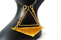Geometric Necklace, Sterling Silver Necklace, Geometric Jewelry, minimalist necklace, triangle necklace, brass necklace, gold chevron, boho