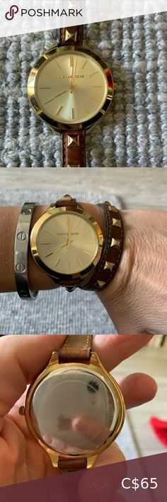 Michael Kors double wrap around bracelet Brown studded leather bracelet with gold face Michael Kors Accessories Gold Face, Wrap Around, Studded Leather, Michael Kors Watch, Women Accessories, Shop My, Cosmetics, Brown, Bracelets