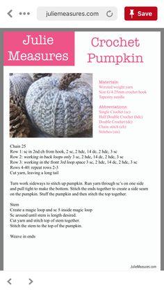 Crochet Fall, Holiday Crochet, Crochet Home, Knit Or Crochet, Crochet Gifts, Single Crochet, Crochet Pumpkin Pattern, Halloween Crochet Patterns, Crotchet Patterns