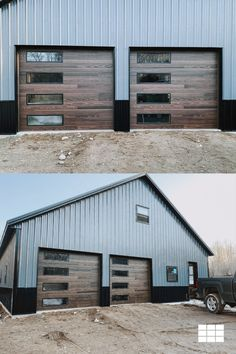 """""""...they're everything I was hoping for and more! I wanted something that would enhance the overall design of the exterior and with these doors we were able to achieve the contrasting wood look with the durability of steel. These steel doors are from @chioverheaddoors contemporary collection, style is 'planks' and finish is accents woodtone dark oak. Bonus — they match the stain on our entry doors and porch beams SO well 🙌🏼"""" // via @builtbydemm on IG Barn Homes Floor Plans, Barn House Plans, Dream House Plans, House Floor Plans, Faux Wood Garage Door, Modern Garage Doors, Garage Door Design, Shop Buildings, Metal Buildings"""