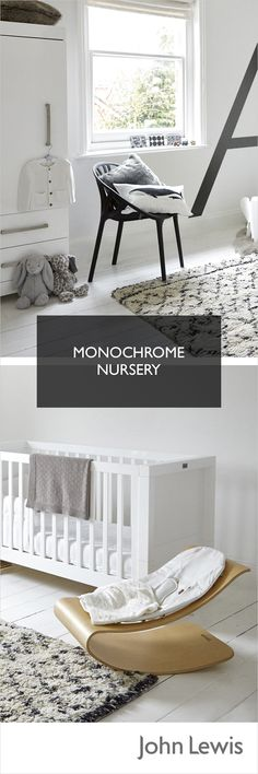 A modern monochrome nursery theme never dates. Keep it simple with clean white walls and black furniture that you can use elsewhere in the house later on. A large cosy rug such as the Rhombus Berber, adds a focal point and a touch of warmth for little feet. Use the first letter of your baby's name for this wall art idea and no need to repaint when your little one outgrows it.