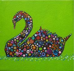 Zwaan Acryl mixed media op doek 10 x 10 cm door Ans van Essen