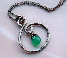 Hammered sterling silver chrysoprase handmade necklace