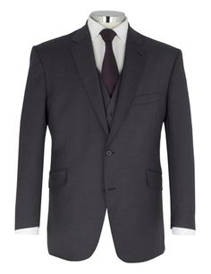Centaur Big And Tall Plain Charcoal 2 Button Suit Jacket