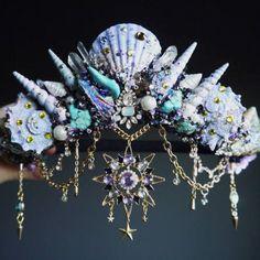 The Sea Witch Crown in iridescent Purple - Mermaid Crown - Shell Crown - Crystal Crown , Crown Aesthetic, Witch Aesthetic, Mermaid Crown, Mermaid Art, Mermaid Jewelry, Cute Jewelry, Hair Jewelry, Jewellery, Sea Crown