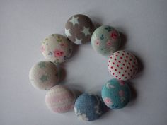 Tilda fabric covered buttons 19mm x5 by TheHomemadeHaven on Etsy, £3.00
