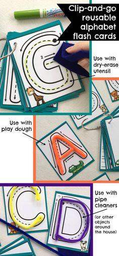 Clip-and-go Reusable Alphabet Flash Cards #abc #alphabet #flashcards #reuse #preschool #preschoolers #prek #homeschool #homeschooling #travel #playdough #affiliate Preschool Literacy, Preschool Printables, Kindergarten Writing, Literacy Activities, Kindergarten Classroom, Learning Centers, Kids Learning, Teaching Letters, Petite Section