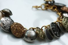 Sold! Silver and Gold Brass and Metal Upcycled Vintage Button Jingle Charm Bracelet by CinnamonandSilver