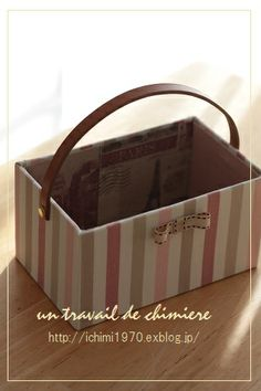 ichimière手づくりの時間 Creative Storage, Craft Storage, Creative Crafts, Fabric Covered Boxes, Paper Flower Backdrop, Idee Diy, Craft Bags, Cardboard Crafts, Diy Box