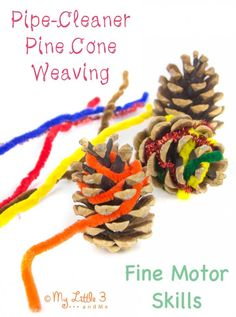 Nature inspired craft - Pine Cone Weaving Take a Nature walk and collect some pine cones to create these pine cone woven decorations ideal for autumn/fall Motor Skills Activities, Nature Activities, Autumn Activities, Preschool Activities, Fine Motor Activities For Kids, Indoor Activities, Fine Motor Skills, Summer Activities, Family Activities